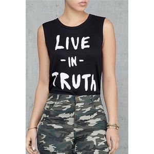 Tops - Live In Truth Printed Sleeveless T-Shirt